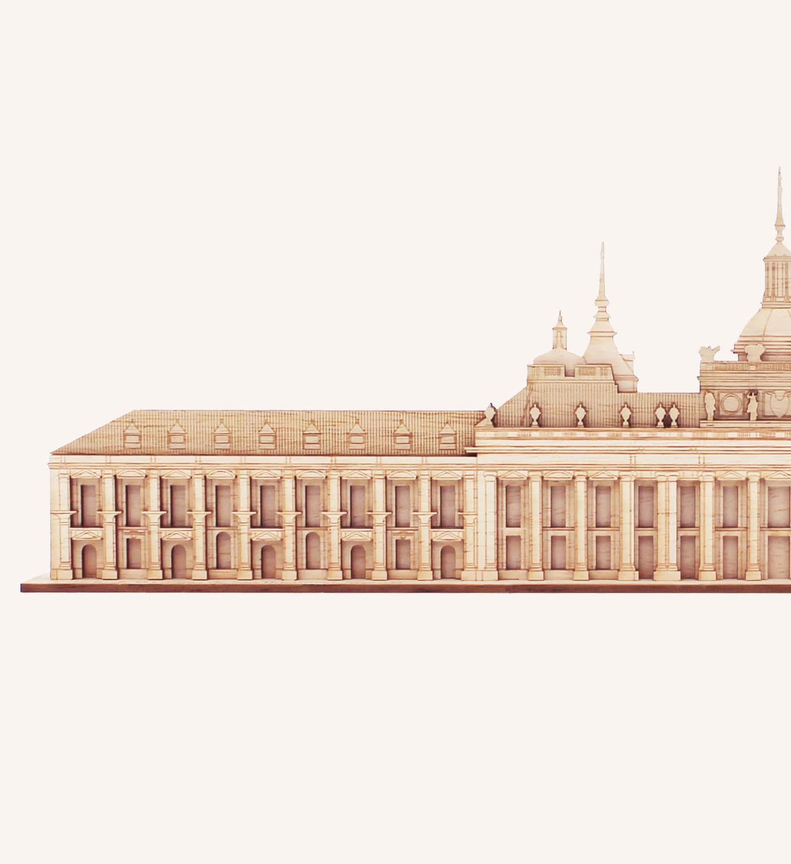 Detalle del palacio de La Granja de San Ildefonso de madera